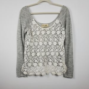 Free People Lace Gray One Shoulder Long Sleeve